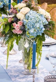 Tall Cut Crystal vases: 3 pieces  available.  Seen here on a French toile table runner (1 long piece (+))