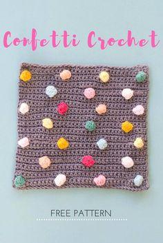 Confetti Bobble Stich - Confetti Bobbel Steek (Bees and Appletrees) Crochet Home, Crochet Gifts, Crochet Yarn, Crochet Stitches, Free Crochet, Crochet Flowers, Crochet Patterns, Stitch Patterns, Crochet Cocoon