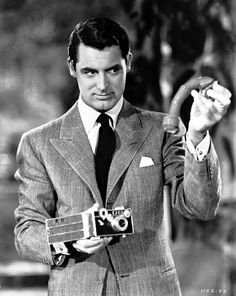 """CARY GRANT (with an Argus C3 camera in """"The Philadelphia Story"""")"""