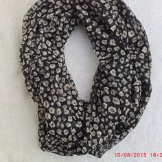 Stunning Animal Print Knit Mesh Infinity Scarf Black by Pandente