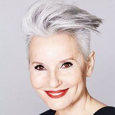 #27: Opal Undercut Opal hues are perfectly suited to older women, as they are naturally gray or white. Therefore, you don't need to dye your hair frequently as it grows out. The undercut style will keep thick hair manageable and help your personality shine through.