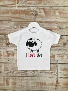 I Love Ewe T-Shirt - Say I Love You from your baby or toddler Organic Baby, Baby Bodysuit, Sheep, My Etsy Shop, Baby Boy, Babies, My Love, Trending Outfits, Jeans