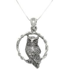 Carolina Glamour Collection Sterling Silver Wise Owl on Swing Pendant... ($33) ❤ liked on Polyvore featuring jewelry, necklaces, accessories, neck, owls, silver, sterling silver owl necklace, sterling silver necklace pendant, sterling silver owl pendant and pendant necklace