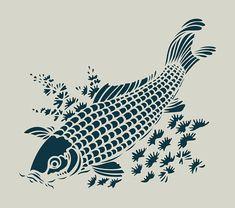 Het stencil techniek heeft een grote rol in de traditionele afdrukken van stoffen naar de Japan. De realisatie van de stencils is een kunst: de katagami. Het voorgestelde stencil is een reproductie van een traditionele patroon van Koi, vis symboliseert de sterkte en volharding.