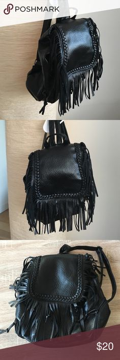 Fringe Leather Jacket Brand New Black Leather Fringe back pack. H 13 inches. L 11 inches W 5 inches. Bags Backpacks