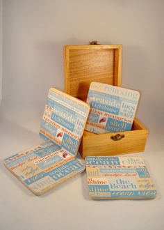 Wooden Coasters Beach Theme Blue and Cream with by DreamersGifts, $15.00