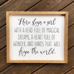Here Sleeps a Girl Framed Wood Sign Strong Girls Quote Wall