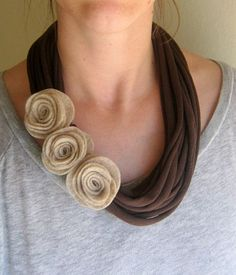 This mocha rose t-shirt scarf necklace is made from recycled jersey knit t-shirts and the felt roses are made by hand.