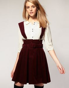 Asos collection Asos Pinafore Dress in Cord in Purple (wine) | Lyst