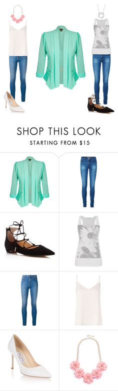 """Two Different Ways to Style a Mint Blazer"" by haylee-rosalia ❤ liked on Polyvore featuring City Chic, Vero Moda, Ivanka Trump, maurices, STELLA McCARTNEY, L'Agence, Jimmy Choo and Blue Nile"