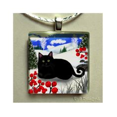 BLACK CAT WINTER BERRIES NECKLACE PET ART GIFT JEWELRY GLASS TILE PENDANT CHAIN in Collectibles | eBay
