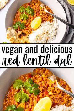 Great Vegan Recipes, Vegan Dinner Recipes, Vegan Dinners, Lunch Recipes, Lentil Dal Recipe, Vegan Vegetarian, Vegetarian Recipes, Indian Diet, Easy Vegan Dinner