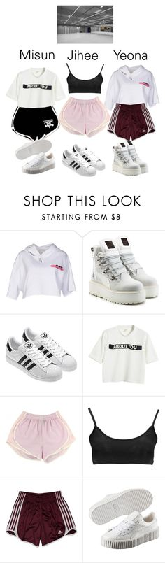 """""""'Together' // Dance Practice"""" by uncoverofficial ❤ liked on Polyvore featuring Off-White, Puma, Chicnova Fashion, Boohoo and adidas"""