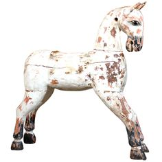 Painted Wooden Horse | From a unique collection of antique and modern sculptures at http://www.1stdibs.com/furniture/more-furniture-collectibles/sculptures/