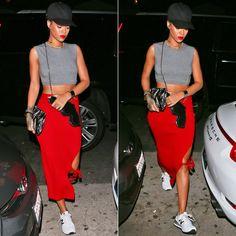 Rihanna wearing Givenchy black baseball snapback cap, Norma Kamali Sweats grey midriff sleevless crop top, New Balance 574 sneakers, Saint Laurent Bo gun purse and gun print clutch, Nektar de Stagni pearl choker, Celine silver edge cuff