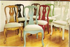 Queen Anne chairs painted all different colors