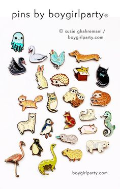 Penguin Pin! A unique enamel lapel pin featuring a penguin illustrated by Susie Ghahremani / boygirlparty¨ from…