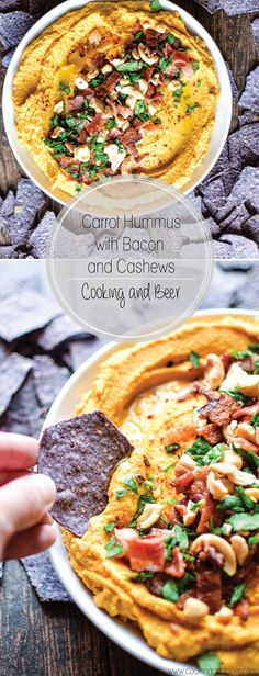Carrot Hummus with Bacon and Cashews: Liven things up a bit with a fun twist on a classic hummus recipe!