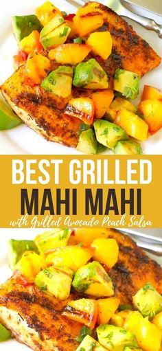 Grilled avocado and peach salsa over spiced, grilled mahi mahi is the perfect way to celebrate the fresh flavors of summer. 311 calories and 5 Weight Watchers SP | Grilled fish | Recipes mahi mahi | How to | Recipes healthy #grilledfish #mahimahi #grilledavocado #weightwatchers #smartpoints Grilled Fish Recipes, Grilling Recipes, Seafood Recipes, Cooking Recipes, Maui Maui Fish Recipes, Tilapia Recipes, Healthy Dishes, Healthy Dinner Recipes, Vegetarian Recipes