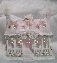 Shabby Chic Christmas Village House
