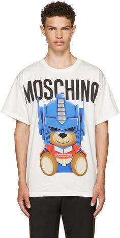 Moschino - White Transformers Teddy Logo T-Shirt