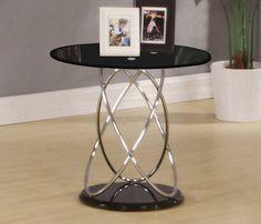 Black Glass Chrome Side Table