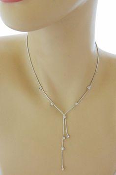 "Lariat Rhinestone Snake Chain Choker Necklace Silver Tone Delicate 15"" #Lariat"