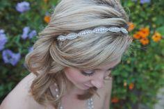Bridal Rhinestone Headband, Wedding Headband, Beaded, Silk Ribbon, Bella. $56.00, via Etsy.