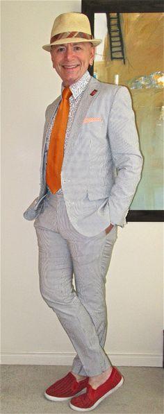Hugo Boss cotton suit, Vivienne Westwood shirt, vintage tie, Coach laser-cut…