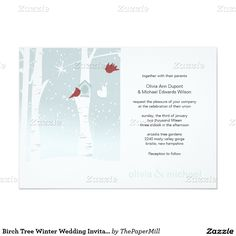 "Birch Tree Winter Wedding Invitations 5"" X 7"" Invitation Card"