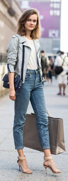 Pinstripes On Denim Streetstyle by A Love Is Blind