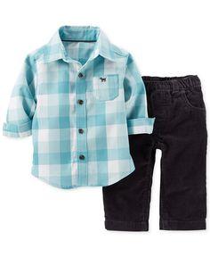 Carter's Baby Boys' 2-Piece Flannel Shirt & Corduroy Pants Set - Kids - Macy's