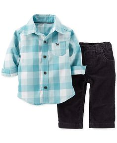 Carter's Baby Boys' 2-Piece Flannel Shirt & Corduroy Pants Set - Kids - Macy's