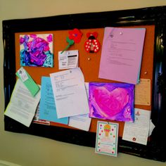 DIY bulletin board: open back frame and separate bulletin board from hobby lobby. They will even assemble it for you.