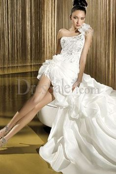 Fantastic Floral One-Shoulder Short Wedding Dress With Lavish yet Exquisite Beadings and Sequins