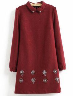 Red Lapel Long Sleeve Rhinestone Straight Dress US$35.74