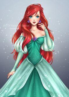 ~Ariel~ (The Little Mermaid) Anime Art Anime Disney Princess, Princesa Ariel Da Disney, Disney Princesses, Ariel Mermaid, Ariel The Little Mermaid, Cute Disney, Disney Girls, Kawaii Disney, Disney Cartoons