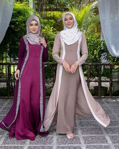 Image may contain: 2 people, people standing Modern Hijab Fashion, Muslim Women Fashion, Batik Fashion, Arab Fashion, Dress Muslim Modern, Muslim Dress, African Fashion Dresses, Fashion Outfits, Hijab Fashionista