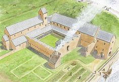 The medieval monastery as it may have appeared in the century - Architektur - European History, American History, Cathedral Architecture, Minecraft Creations, Classical Education, Medieval Life, English Heritage, 11th Century, Concept Architecture