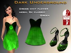 Mesh green strapless dress with flower with sizes L, M, S, XS, XSS. Green high heels sandals  Here I leave a link to use slink feet high https://marketplace.secondlife.com/p/Slink-AvEnhance-Feet-Female-High/5573231