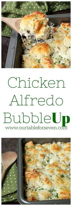 Chicken Alfredo Bubble Up from Table for Seven:It just takes 4 ingredients to make this delicious, hearty and simple dish!