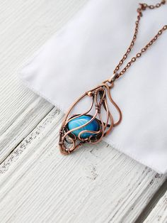 Butterfly wing copper necklace with blue agate  Wire wrapped pendant - Boho style necklace