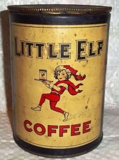 Vintage Little Elf Coffee Tin Vintage Baking, Vintage Tins, Vintage Coffee, Vintage Metal, Vintage Kitchen, Vintage Antiques, Tin Can Alley, Coffee Tin, Coffee Maker