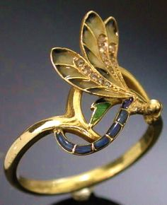 French Art Nouveau Enamel Dragonfly Ring by Henri Dubret