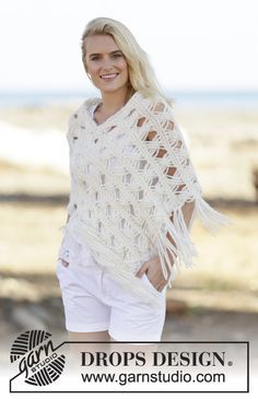 Late in August - Knitted DROPS poncho in garter st with Indian cross stitches in 1 thread Cloud or 2 threads Air. Size: S - XXXL. - Free pattern by DROPS Design Poncho Au Crochet, Poncho Knitting Patterns, Poncho Shawl, Crochet Scarves, Knit Patterns, Crochet Clothes, Hand Knitting, Knit Crochet, Women's Ponchos & Wraps