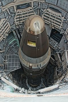 Titan II with atomic warhead in it's silo. Mutual destruction garanteed if ever fired. America's missiles are now pointed at sea: while Russian counterparts still targeted cold war objects as cities, harbours and military targets. One Russian launched missile automatically sends a signal that launches all their other rockets. Americans call that 'The Doomsday Machine'.........