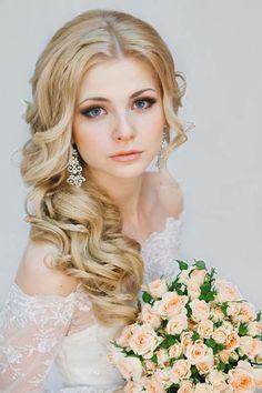 long wavy wedding hairstyle with braided via antonina roman