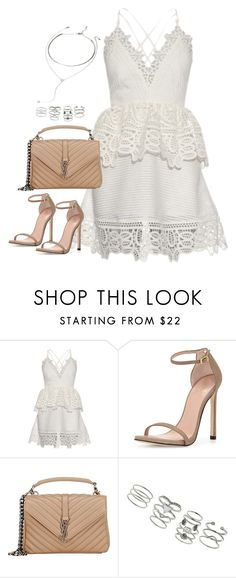 """""""Untitled#4274"""" by fashionnfacts ❤ liked on Polyvore featuring self-portrait, Stuart Weitzman, Yves Saint Laurent, Miss Selfridge and Forever 21"""