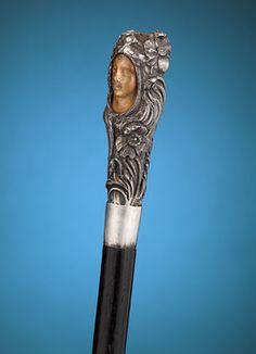 Bastones de antigüedades, decorativo del bastón, bastón de Art Nouveau ~ MS Rau…
