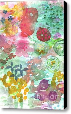 Watercolor Garden Blooms Stretched Canvas Print / Canvas Art By Linda Woods